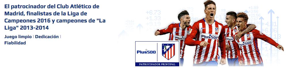 Plus 500 patrocina el atlético de Madrid