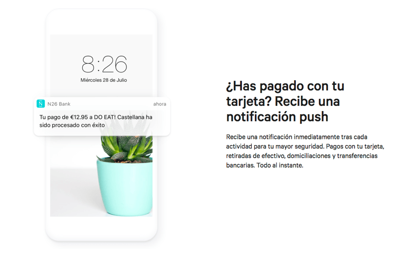 Notificacion N26 banco